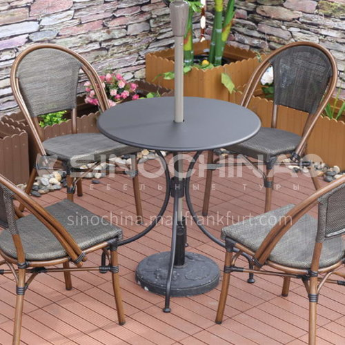 MSSM-Outdoor leisure tea table/aluminum tube+tempered glass+rattan double-sided+carbon steel cast iron foot stand