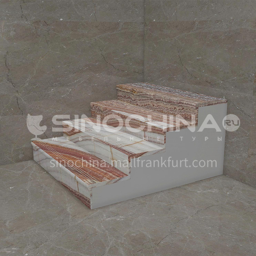 Natural red modern marble staircase M-HB11M