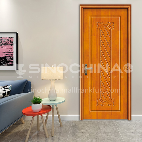 Classical flower decorative oak solid wood door office room bathroom door design 69