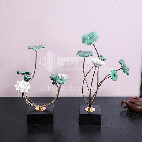 Ceramic crafts creative gift model room modern lotus leaf flower home office soft decoration 5666