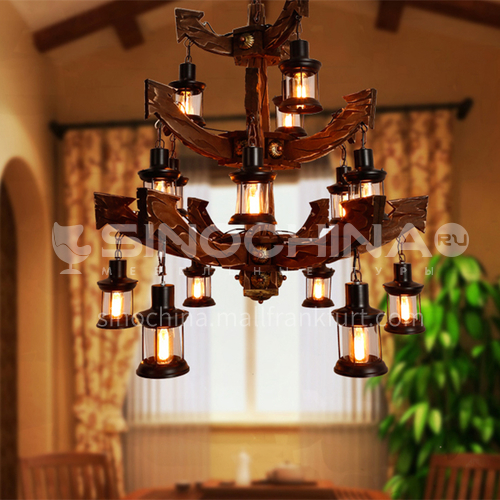 American country wood chandelier, high ceiling living room lamp, hollow building, middle building, villa, duplex staircase, industrial style large chandelier WYN-艺戈