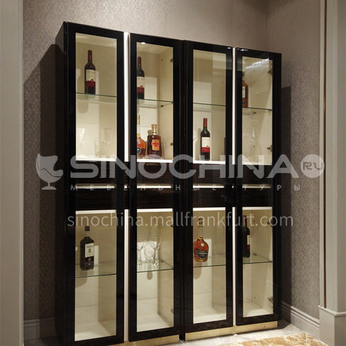 Stainless Steel Ebony Classical Wine Cabinet