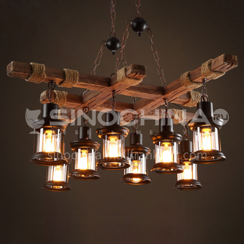 American country wood twine decorative lamp retro industrial style restaurant living room theme bar Internet cafe wooden chandeliers WYN-7593-D10