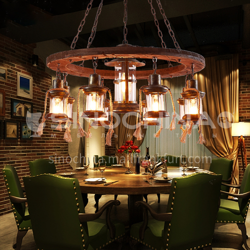 American country wooden art hemp rope decorative lamp retro industrial style cafe western restaurant living room theme bar chandelier WYN-9133-D9