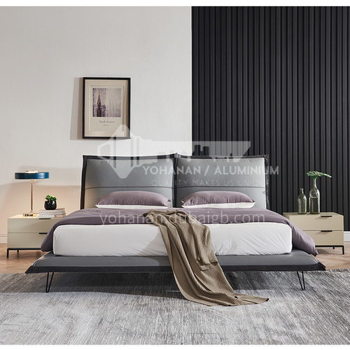 BC-2001- Russian imported larch, first layer of calf leather, solid wood steel frame, dense row skeleton linen decoration, solid wood board, high-density sponge bag, light luxury bed with hardware feet