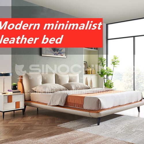 BC-2003 Russian imported larch + first-layer calf leather + solid wood steel frame + encrypted row skeleton + solid wood board + high-density sponge bag + light luxury bed with hardware feet