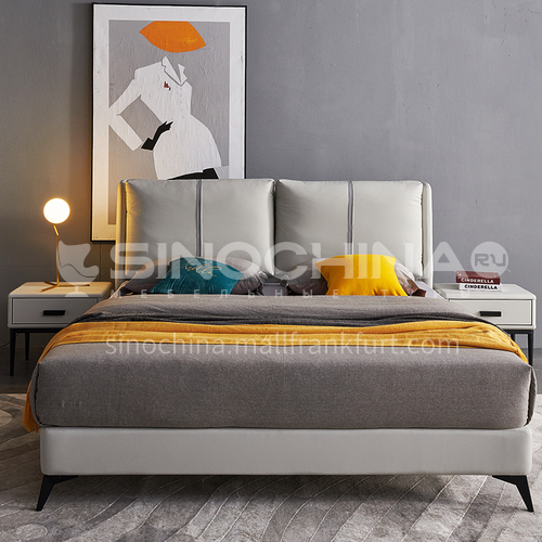 BC-2010 Luxurious Italian post-modern style, imported Russian larch, genuine leather, solid wood panels, feather backing, carbon steel hardware feet, luxurious Italian bed