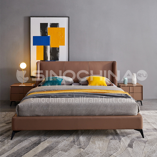 BC-2011 Russian imported larch, first layer of calf leather, solid wood board, high-density sponge, light luxury bed with carbon steel hardware feet