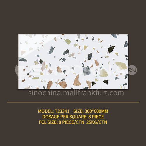 Color terrazzo tile bathroom bathroom antique floor tiles ins wind Nordic balcony kitchen wall tiles-SSFYT23341 300mm*600mm