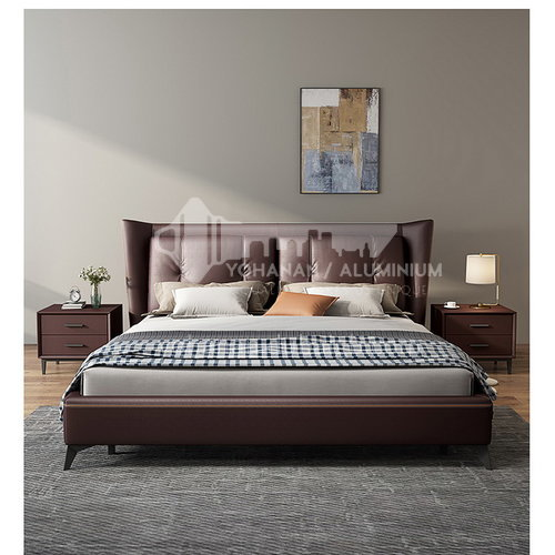 BC-3005 Russian imported larch, first-layer calf leather, solid wood board, high-density sponge, light luxury bed