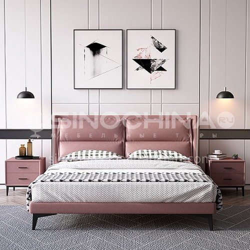 BC-3028 Russian imported larch, first layer of calf leather, solid wood board, high-density sponge, light luxury bed