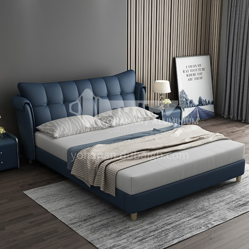 BC-3029 Russian imported larch, first layer of calf leather, solid wood board, high-density sponge, light luxury bed