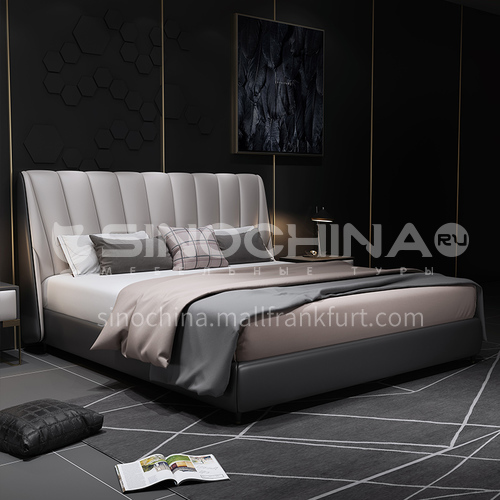 BC-5012- Italian light luxury style, imported Russian larch, first layer calf leather, solid wood board, high-density sponge bag, Italian light luxury bed