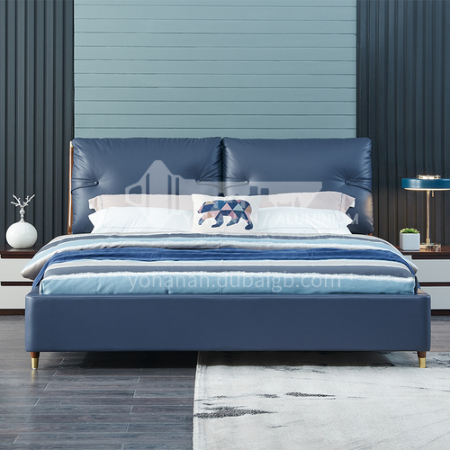 BC-6003 Russian imported larch, first-layer calf leather, solid wood board, high-density sponge, light luxury bed