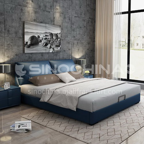 BC-6022 bedroom stylish modern Russian solid wood panel, high density sponge light luxury leather bed