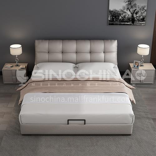 BC-6033 bedroom modern solid wood board high density sponge bag light luxury leather bed