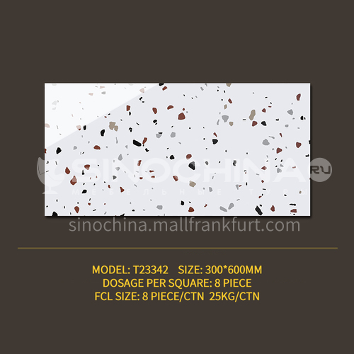 Color terrazzo tile bathroom bathroom antique floor tiles ins wind Nordic balcony kitchen wall tiles-SSFYT23342 300mm*600mm