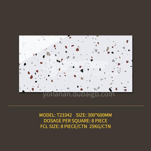 Color terrazzo tile bathroom bathroom antique floor tiles ins wind Nordic balcony kitchen wall tiles-SSFYT23342 300mm*600mm