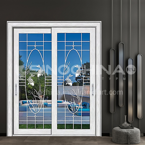 1.4mm aluminum alloy two-track sliding door craft glass style