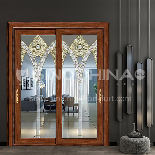 1.4mm aluminum alloy two-track sliding door double-layer luxury decorative glass