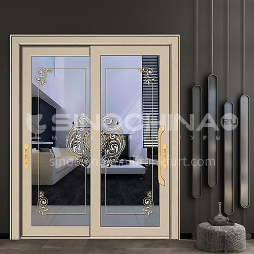 1.4mm aluminum alloy two-track sliding door classical design decorative glass