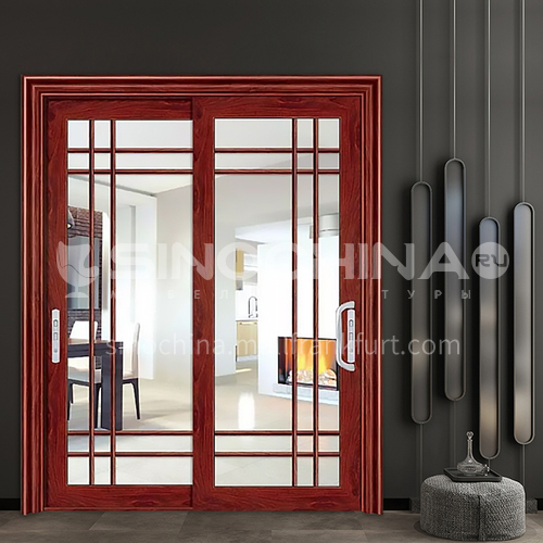 1.2mm aluminum alloy two-track sliding door double-layer tempered glass lattice clause