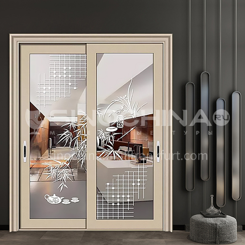 1.4mm aluminum two-track sliding door with new inlaid decorative glass
