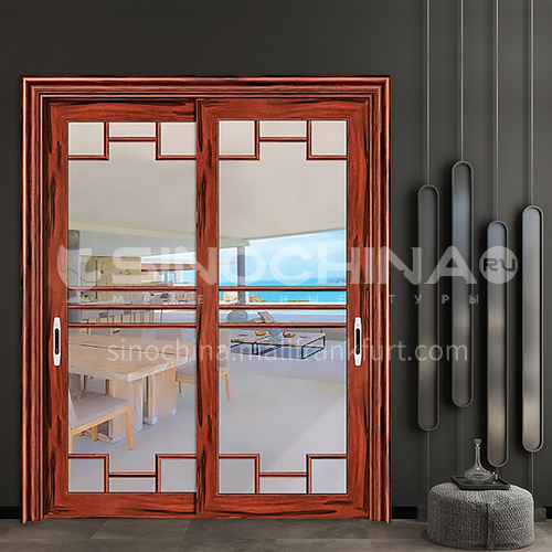1.2mm aluminum alloy two-track sliding door with simple decoration and double-layer tempered glass