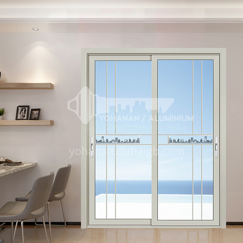 1.2mm modern style aluminum alloy glass sliding door carved glass
