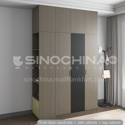 XDD-3303- Nordic modern style, solid wood paint-free board, metal handle, silent door hinge, Nordic modern wardrobe