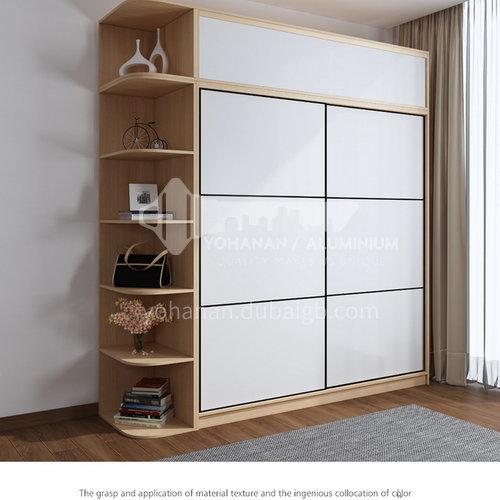 XDD-3320- Nordic minimalist style, paint-free board, storage grid, high-end sliding door, Nordic minimalist wardrobe