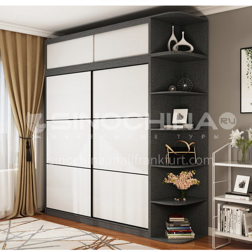XDD-5520- Nordic modern style, paint-free board, storage grid, high-end sliding door, Nordic modern wardrobe