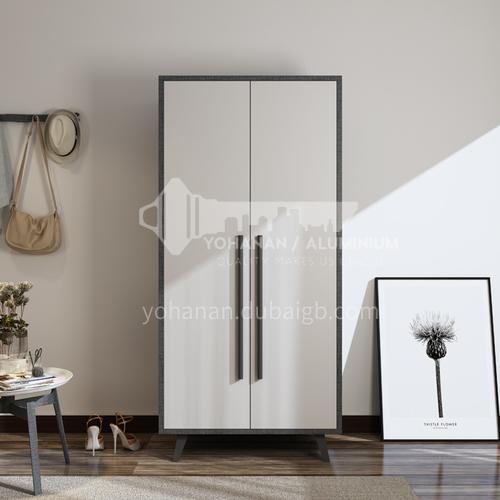 XDD-8802- Nordic style, paint-free board, beech wood panel, high-end two-door wardrobe, Nordic modern wardrobe