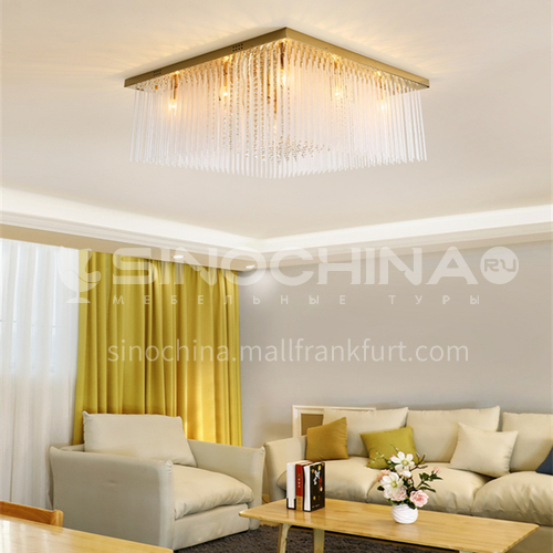 Modern dining room ceiling lamp rectangular crystal lamp light luxury dining room lamp GD-1277