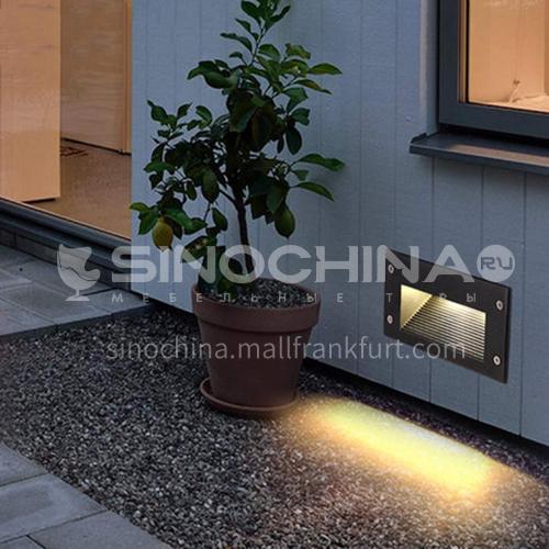 Stair light outdoor waterproof recessed wall light Nordic park foot light outdoor corridor aisle step light YYHW 8052