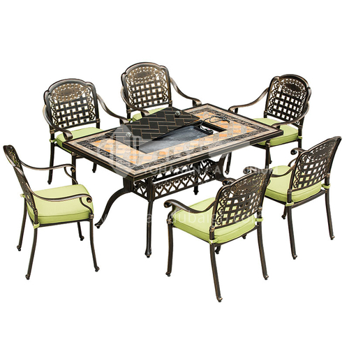 JOZL-TY1805A Electric barbecue table rectangular table, metal waterproof sunscreen bronze retro