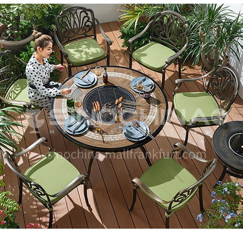JOZL-TY1821A Boutique charcoal grilled table and chair combination for outdoor use, round table bronze color new waterproof durable high quality