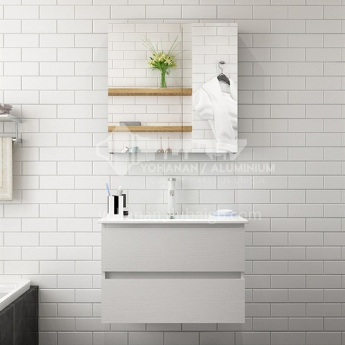 Hotel and apartment project modern style white multi-layer paint-free board wall hanging bathroom cabinet 3010