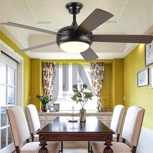 American minimalist ceiling fan lamp modern retro European style living room bedroom fan lamp-HJ-853