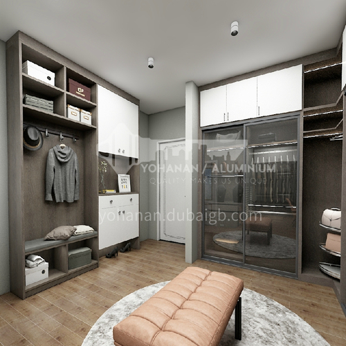Modern style glass door melamine with particle board wardrobe-GW-013
