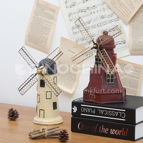 American retro Dutch windmill resin decoration creative home living room desktop wine cabinet decoration model decoration BJ04304