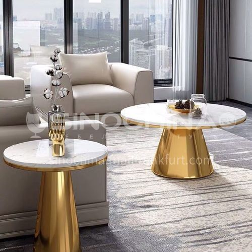 Stainless steel coffee table marble surface round living room combination table