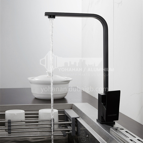 Black square kitchen faucet 304 stainless steel cold and hot water faucet kitchen sink mixer faucet