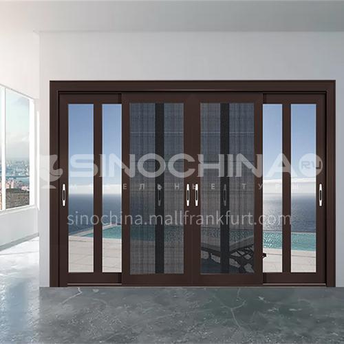 2.0mm four panels aluminum sliding doors with three tracks with yarn