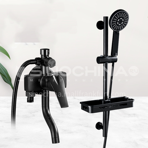 Surface mounted shower set, exposed tube shower, household simple shower set, black nozzle for bath