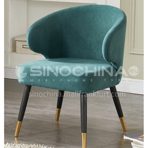 HT-111 restaurant high-end modern light luxury dining chair with backrest + high-quality ash wood frame + golden foot cover + high-density sponge + high-quality cotton and linen + solid wood curved board