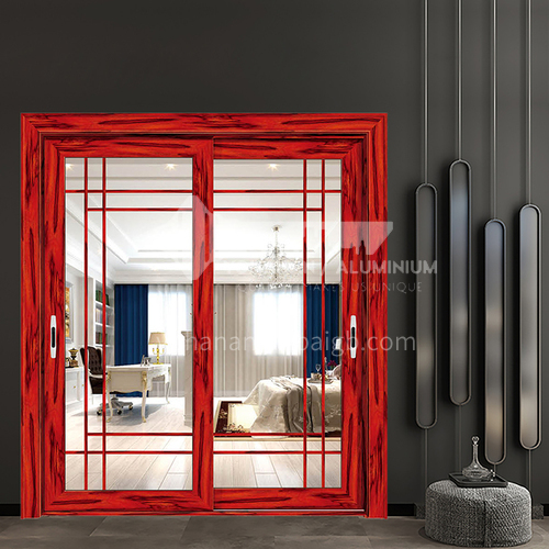 1.4mm aluminum alloy wood grain color simple lattice type aluminum sliding door