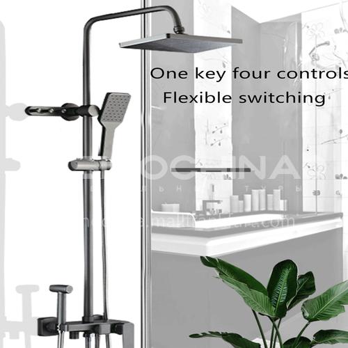 Copper gun gray shower set Nordic matte gray black four-speed household bathroom pressurized rain shower
