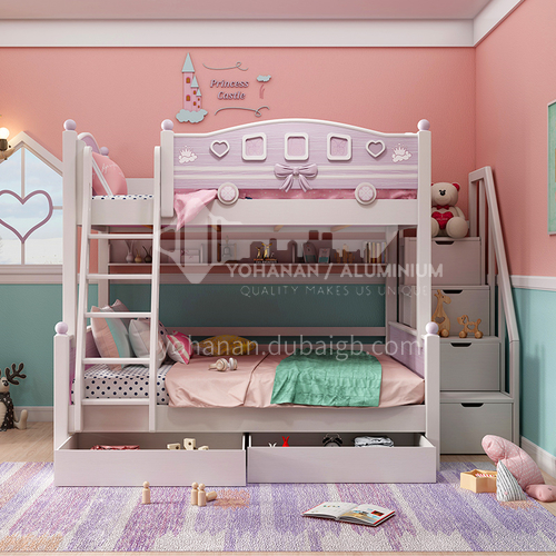 JLX-317 Bedroom modern solid wood frame, foam mattress fashion double bed for children