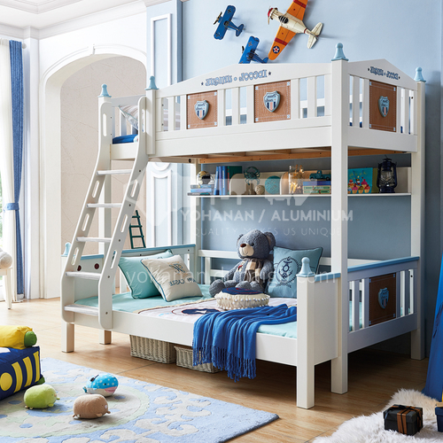 JLX-3956 bedroom modern solid wood frame, foam mattress fashion double-layer children bed